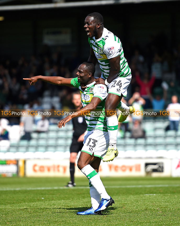 Francois Zoko of Yeovil Town (13) celebrates scoring the second goal with the scorer of the first Olufela Olomola of Yeovil Town during Yeovil Town vs Accrington Stanley, Sky Bet EFL League 2 Football at Huish Park on 12th August 2017
