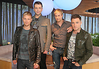 19/08/'10 Westlife (from left, Nicky Byrne, Mark  Feehily, Cian Egan and Shane Filan) pictured this evening at a photocall in the O2, Dublin for the announcement the the band are to play an intimate 1 hour gig to 1000 fans at the O2 tomorrow night. The concert will also be streamed live for a fee to fans who could not get a ticket for the gig....Picture Colin Keegan, Collins, Dublin,
