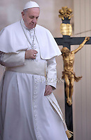 Pope Francis  during his weekly general audience in St. Peter square at the Vatican, Wednesday. March 4, 2015