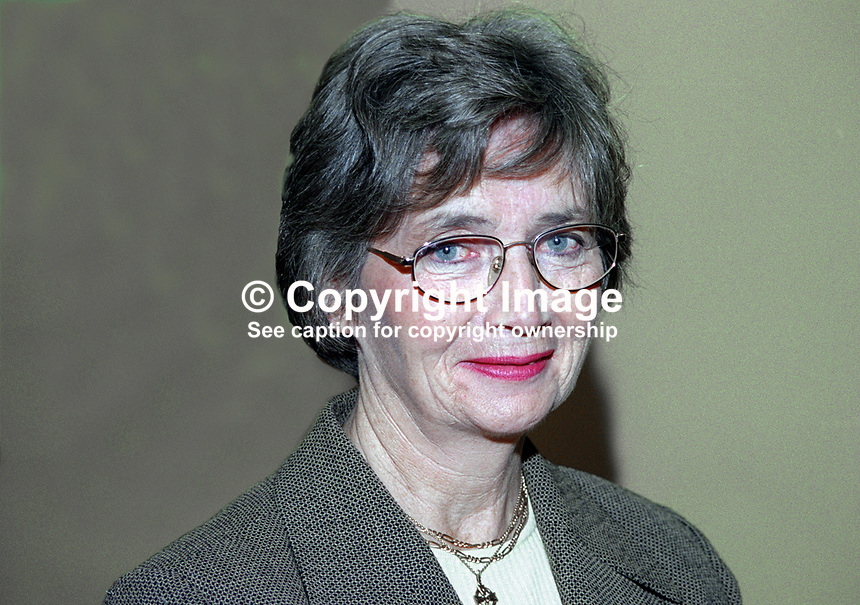 Brid Rodgers, SDLP, MLA, Upper Bann, N Ireland, 199911038.<br /> <br /> Copyright Image from Victor Patterson,<br /> 54 Dorchester Park, <br /> Belfast, UK, BT9 6RJ<br /> <br /> t1: +44 28 9066 1296 (from Rep of Ireland 048 9066 1296)<br /> t2: +44 28 9002 2446 (from Rep of Ireland 048 9002 2446)<br /> <br /> m: +44 7802 353836<br /> <br /> e: victorpatterson@me.com<br /> www.victorpatterson.com<br /> <br /> Please see my Terms and Conditions of Use at www.victorpatterson.com. It is IMPORTANT that you familiarise yourself with them.<br /> <br /> Images used on the Internet must be visibly watermarked i.e. &copy; Victor Patterson<br /> within the body of the image and copyright metadata must not be deleted. Images <br /> used on the Internet have a size restriction of 4kbs and will be chargeable at current<br />  NUJ rates unless agreed otherwise.<br /> <br /> This image is only available for the use of the download recipient i.e. television station, newspaper, magazine, book publisher, etc, and must not be passed on to any third <br /> party. It is also downloaded on condition that each and every usage is notified within 7 days to victorpatterson@me.com<br /> <br /> The right of Victor Patterson to be identified as the author is asserted in accordance with The Copyright Designs And Patents Act (1988). All moral rights are asserted.