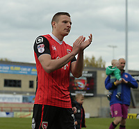 Paul Mullin of Morecambe thanks the fans for there support over the 2016/17 season at there last home match  during the Sky Bet League 2 match between Morecambe and Wycombe Wanderers at the Globe Arena, Morecambe, England on 29 April 2017. Photo by Stephen Gaunt / PRiME Media Images.