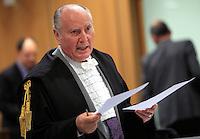 Il Procuratore Generale della Corte d'Appello Alberto Cozzella durante l'udienza conclusiva del processo per il delitto di Via Poma, presso la Corte d'Appello di Roma, 27 aprile 2012..UPDATE IMAGES PRESS/Riccardo De Luca