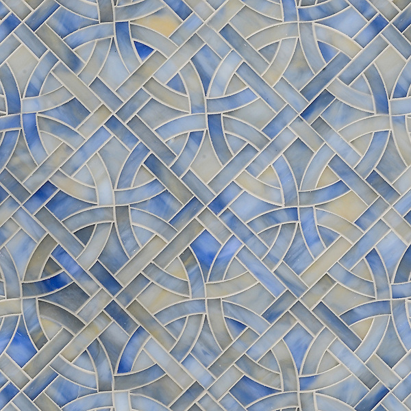 Poco Via, waterjet mosaic shown in Chalcedony, is part of the Miraflores collection by Paul Schatz for New Ravenna Mosaics.