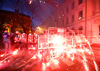 Fireworks explode on police vehicles. Pro-Palestinian protesters clashed with police as they held another demonstration against Israel in the Norwegian capital Oslo. Violent clashes lasted for hours  in the centre of Oslo. Israeli forces began a series of air strikes on the Gaza Strip on the 27th of December in retaliation against Hamas rockets fired into Israel. After eight days of bombardment, leaving over 400 Palestinians and four Israelis dead, Israeli tanks launched a ground invasion on the 4th of January.