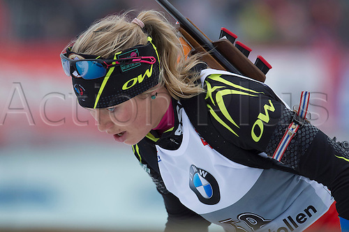 22.03.2014  Oslo, Norway The E.ON IBU World Cup Biathlon 2014 Marine Bolliet of France  in action during the ladies 10 kilometre  pursuit at The EON IBU World Cup Biathlon Final from Holmenkollen in Oslo, Norway.