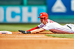 14 April 2018: Washington Nationals shortstop Trea Turner steals second in the 3rd inning against the Colorado Rockies at Nationals Park in Washington, DC.The Nationals rallied to defeat the Rockies 6-2 in the 3rd game of their 4-game series. Mandatory Credit: Ed Wolfstein Photo *** RAW (NEF) Image File Available ***