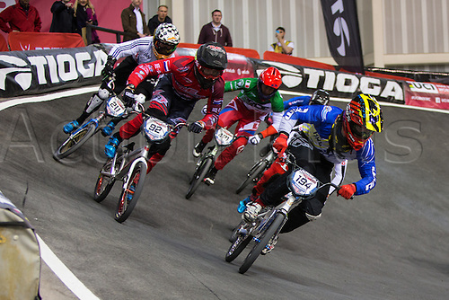 10.04.2016. National Cycling Centre, Manchester, England. UCI BMX Supercross World Cup Finals. Federico Villegas leads from Martijn Jaspers and Kyle Evans.