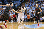 15 November 2015: North Carolina's Theo Pinson (1) moves between Fairfield's Tyler Nelson (3) and Scott King, Jr. (5). The University of North Carolina Tar Heels hosted the Fairfield University Stags at the Dean E. Smith Center in Chapel Hill, North Carolina in a 2015-16 NCAA Division I Men's Basketball game. UNC won the game 92-65.