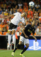 Valencia's Sofiane Feghouli (l) and AS Monaco FC's Fabinho during Champions League 2015/2016 Play-Offs 1st leg match. August  19,2015. (ALTERPHOTOS/Acero)