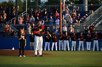 """Batavia Muckdogs starting pitcher Sean Guenther (39) stands with a """"Star of the Game"""" during the national anthem before a game against the Auburn Doubledays on August 26, 2017 at Dwyer Stadium in Batavia, New York.  Batavia defeated Auburn 5-4.  (Mike Janes/Four Seam Images)"""