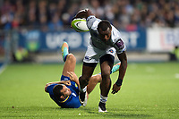 Semesa Rokoduguni of Bath Rugby gets past Dave Kearney of Leinster Rugby. Pre-season friendly match, between Leinster Rugby and Bath Rugby on August 25, 2017 at Donnybrook Stadium in Dublin, Republic of Ireland. Photo by: Patrick Khachfe / Onside Images