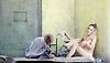 Lady Macbeth of Mtsensk<br /> by Dmitri Shostakovich <br /> English National Opera, London Coliseum, London, Great Britain <br /> rehearsal <br /> 24th September 2015 <br /> <br /> <br /> John Daszak as Sergei <br /> <br /> <br /> Rosie Aldridge as female convict <br /> <br /> <br /> Photograph by Elliott Franks <br /> <br /> Image licensed to Elliott Franks Photography Services