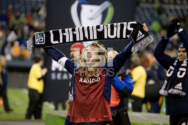 Kyle Beckerman celebrates after Real Salt Lake defeats the Los Angles Galaxy 5-4 on penalty kicks to win the 2009 MLS Cup at Qwest Field, Sunday, Nov. 22, 2009.