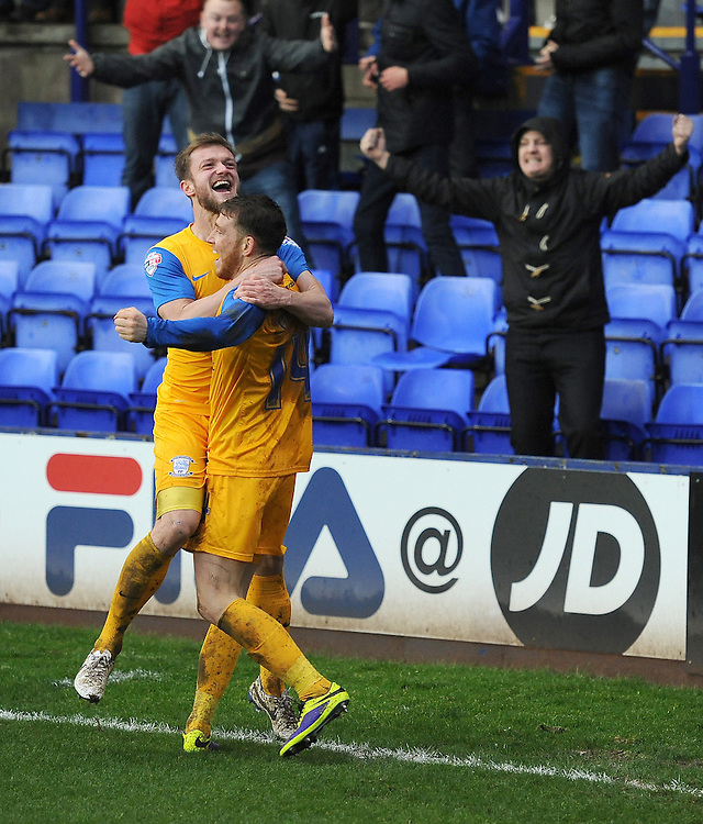 Preston North End's Joe Garner celebrates scoring his sides second goal with team-mate Scott Wiseman<br /> <br /> <br /> Photo by Stephen White/CameraSport<br /> <br /> Football - The Football League Sky Bet League One - Tranmere Rovers v Preston North End - Saturday 8th February 2014 - Prenton Park - Prenton<br /> <br /> &copy; CameraSport - 43 Linden Ave. Countesthorpe. Leicester. England. LE8 5PG - Tel: +44 (0) 116 277 4147 - admin@camerasport.com - www.camerasport.com