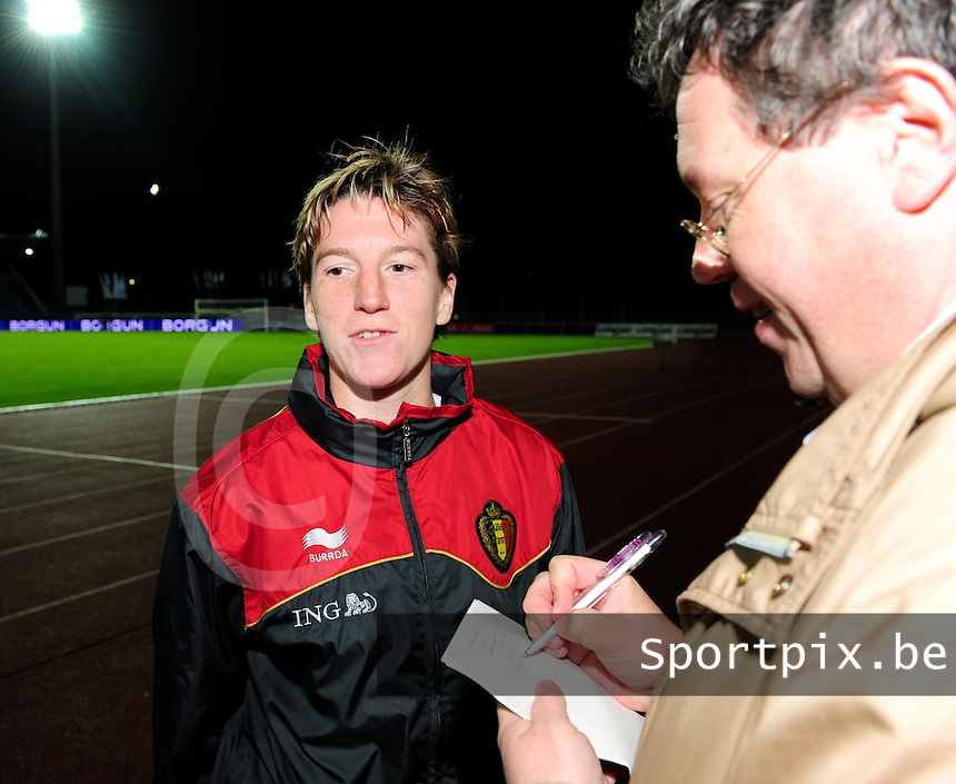 Iceland : UEFA Women's Euro Qualifying group stage (Group 3) - 21/09/2011 - 21:30CET (19:30 local time) - Laugardalsvöllur - Reykjavik : ICELAND (ijsland) - BELGIUM ( Belgie) : Aline Zeler in een interview met Maryan Mahieu..foto DAVID CATRY / Vrouwenteam.be