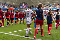 REIMS,  - JUNE 24: Crystal Dunn #19 takes the field during a game between NT v Spain and  at Stade Auguste Delaune on June 24, 2019 in Reims, France.