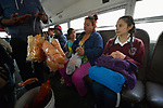 Yarely Arellano (right) rides a bus in the Mexican city of Juarez as she travels home after crossing the border from the United States, where she studies at the Lydia Paterson Institute, a United Methodist sponsored high school in El Paso, Texas. Arrelano, 20, makes the journey every school day.