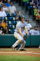 Trenton Thunder third baseman Mandy Alvarez (3) follows through on a swing during a game against the Richmond Flying Squirrels on May 11, 2018 at The Diamond in Richmond, Virginia.  Richmond defeated Trenton 6-1.  (Mike Janes/Four Seam Images)
