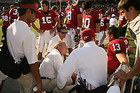 14 October 2006: Dr. Gordon Matheson adnd Dr. Gary Fanton look at T.C. Ostrander during Stanford's 20-7 loss to Arizona during Homecoming at Stanford Stadium in Stanford, CA.