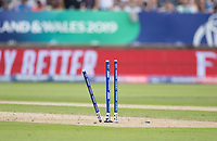 The broken wicket following Steve Smith run out during Australia vs England, ICC World Cup Semi-Final Cricket at Edgbaston Stadium on 11th July 2019