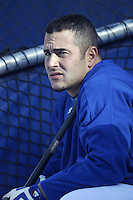 Paul Lo Duca of the Los Angeles Dodgers before a 2002 MLB season game at Dodger Stadium, in Los Angeles, California. (Larry Goren/Four Seam Images)