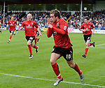 Darlington's Clarke Keltie celebrates scoring his penalty during the League Two playoff match at The Spotland, Stadium, Rochdale. Picture date 10th May 2008. Picture credit should read: Simon Bellis/Sportimage