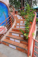 Stairway with messages. Kailua-Kona, Big Island, Hawaii