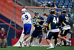 FOXBORO, MA - MAY 28: Brian Huyghue (9) of the LImestone Saints shoots the ball during the Division II Men's Lacrosse Championship held at Gillette Stadium on May 28, 2017 in Foxboro, Massachusetts. (Photo by Larry French/NCAA Photos via Getty Images)