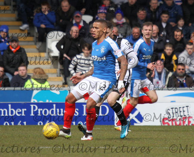 James Tavernier in the St Mirren v Rangers Scottish Professional Football League Ladbrokes Championship match played at the Paisley 2021 Stadium, Paisley on 1.5.16.