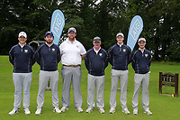 Warrenpoint Team Colm Campbell, Ryan Gribben, Jamie Fletcher, Colm Campbell Team Manager, Paul Reavey and Stevie Colterduring the final of the AIG Barton Shield Ulster Final Golf Club, Belfast, Northern Ireland. 27/08/2017<br />