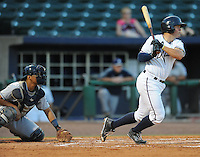 NWA Democrat-Gazette/ANDY SHUPE<br /> Northwest Arkansas Naturals catcher Parker Morin bats against San Antonio Wednesday, Aug. 12, 2015, at Arvest Ballpark in Springdale.