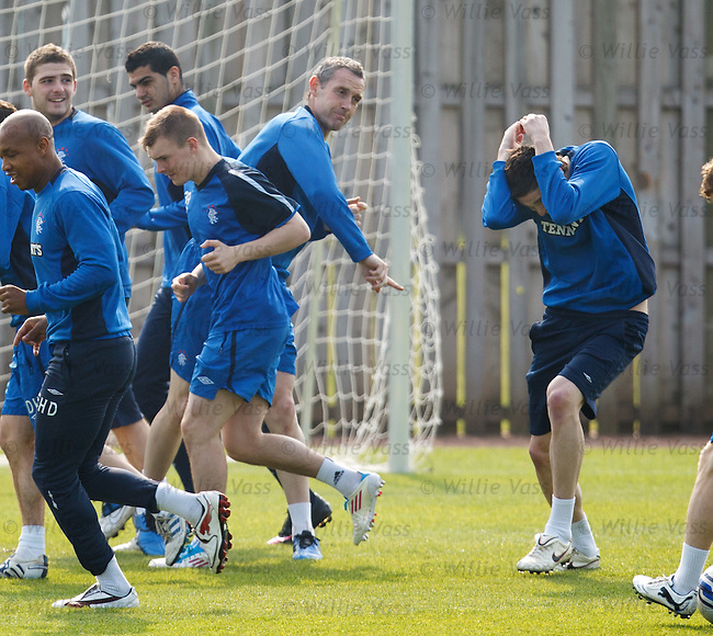 Davie Weir retaliates and launches a hard boiled sweet back at prankster Kye Lafferty who cowers under the revenge attack from the Rangers captain