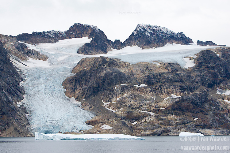 A receding glacier in Eastern Greenland. Climate Change is shrinking the Greenland icecap which could result in catastrophic sea level rise.