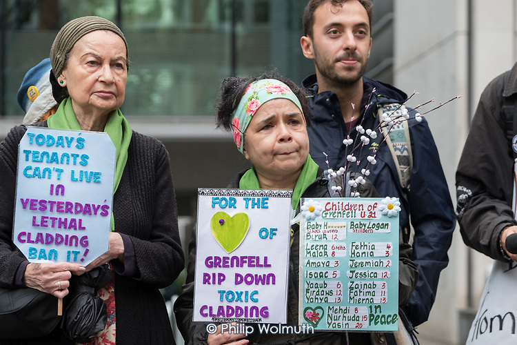 Desi Cranenburgh, Safe Cladding and Insulation Now protest by Fuel Poverty Action, social housing tenants and leaseholders from Salford and London, MHCLG, London.