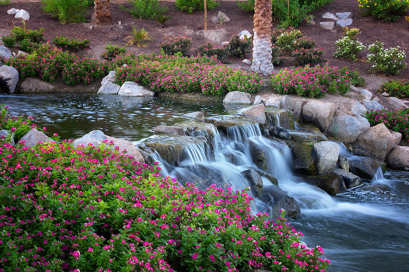 Waterfalls in Garden. Palm Desert, California