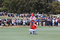 Webb Simpson (USA) on the 16th green during the First Round - Four Ball of the Presidents Cup 2019, Royal Melbourne Golf Club, Melbourne, Victoria, Australia. 12/12/2019.<br /> Picture Thos Caffrey / Golffile.ie<br /> <br /> All photo usage must carry mandatory copyright credit (© Golffile | Thos Caffrey)