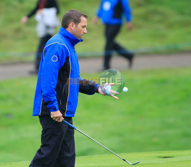 Vice Captain Sergio Garcia during Practice Day 3 of the The 2010 Ryder Cup at the Celtic Manor, Newport, Wales, 29th September 2010..(Picture Eoin Clarke/www.golffile.ie)