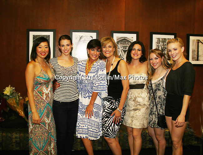 Opening Night - As The World Turns' Colleen Zenk Pinter along with her daughter Kelsey Crouch Pinter (second left) and 5 actresses - Karen Mason (center), Kelly Felthous (second right), Carrie Manolakos (second left), Pearl Sun (L) and Dana Steingold (R) star as CAP 21 presents SUMMER STOCK NYC, a celebration of the Broadway Musical on July 17, 2010 at the Michael Schimmel Center for the Arts, Pace University, NYC. (Photo by Sue Coflin/Max Photos)