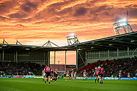 Picture by Allan McKenzie/SWpix.com - 06/04/2018 - Rugby League - Betfred Super League - St Helens v Hull FC - The Totally Wicked Stadium, Langtree Park, St Helens, England - A general view of St Helens playing Hull FC as a dramatic sunset takes place over their ground.