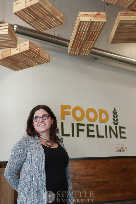 May 18th 2017 - Anna Constant, MPA, with Feeding America is photographed at the Food Lifeline warehouse in South Park, Seattle.