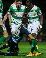 Luke O'Nien of Wycombe Wanderers is surrounded by Yeovil players after going down in the box during the Sky Bet League 2 match between Yeovil Town and Wycombe Wanderers at Huish Park, Yeovil, England on 24 November 2015. Photo by Andy Rowland.