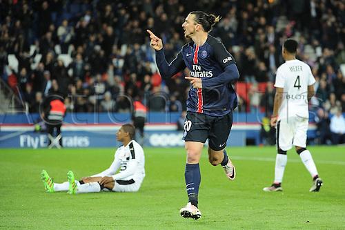 29.04.2016. Paris, France. French league 1 football. Paris St German versus Rennes.  ZLATAN IBRAHIMOVIC (psg) celebrates his goal