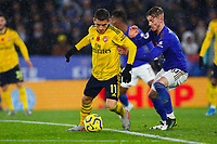 9th November 2019; King Power Stadium, Leicester, Midlands, England; English Premier League Football, Leicester City versus Arsenal; Lucas Torreira of Arsenal is jockeyed by James Maddison of Leicester City - Strictly Editorial Use Only. No use with unauthorized audio, video, data, fixture lists, club/league logos or 'live' services. Online in-match use limited to 120 images, no video emulation. No use in betting, games or single club/league/player publications