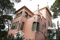 """Casa Museu Gaudí"", Gaudi's House Museum, Park Güell, Barcelona, Catalonia, Spain, 1900 - 1914, built in 1906 by Francesc Berenguer (Reus 1866 ? Barcelona 1914), chosen by Antoní Gaudi (Reus 1852, Barcelona 1926) to incorporate the team of architects with Joan Rubió (Reus 1870 ? Barcelona 1952) and Josep Maria Jujol (Tarragona 1879 - Barcelona 1949). Gaudí bought it in 1906 and lived there until 1925. As a Museum it displays a range of Gaudí?s furniture, including some from the Casa Batlló. Picture by Manuel Cohen"