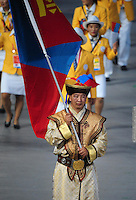Aug. 8, 2008; Beijing, CHINA; The athletes from Mongolia march in during the opening ceremonies for the 2008 Beijing Olympic Games at the National Stadium. Mandatory Credit: Mark J. Rebilas-