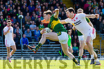Mark Griffin Kerry breaks from Tyrone Sean Cavanagh during their National League clash in Fitzgerald Stadium on Sunday