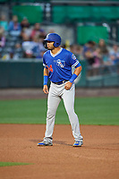 Edwin Rios (24) of the Oklahoma City Dodgers takes a lead from second base during the game against the Salt Lake Bees at Smith's Ballpark on July 31, 2019 in Salt Lake City, Utah. The Dodgers defeated the Bees 5-3. (Stephen Smith/Four Seam Images)