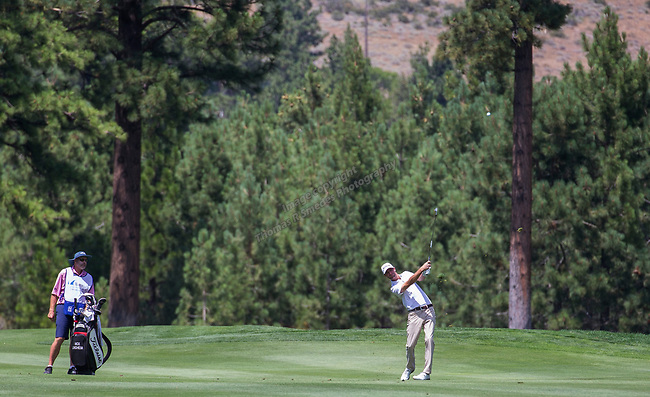 Nicholas Lindheim hits an approach shot during the Barracuda Championship PGA golf tournament at Montrêux Golf and Country Club in Reno, Nevada on Sunday, July 28, 2019.