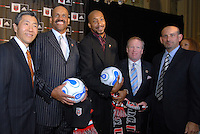 Presentation of DC United Holdings, as the new group that owns and controls the operating rights for DC United of Major League Soccer, January 8, 2007. From left to right William H.C. Chang, Victor MacFarlane, Brian Davis, DC United's Kevin Payne, and MLS Commissioner Don Garber.