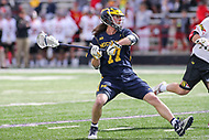 College Park, MD - April 1, 2017:Michigan Wolverines Mikie Schlosser (17) attempts a shot during game between Michigan and Maryland at  Capital One Field at Maryland Stadium in College Park, MD.  (Photo by Elliott Brown/Media Images International)